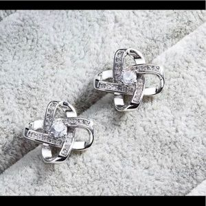 Jewelry - STERLING SILVER PLATED CRYSTAL KNOT EARRINGS